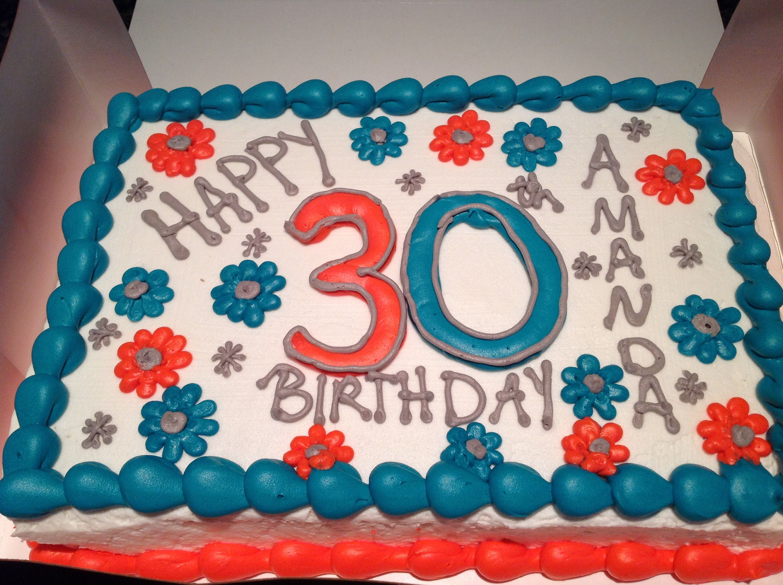 Stupendous 30Th Birthday Sheet Cake For Her Teal And Coral And Gray Made Funny Birthday Cards Online Inifodamsfinfo