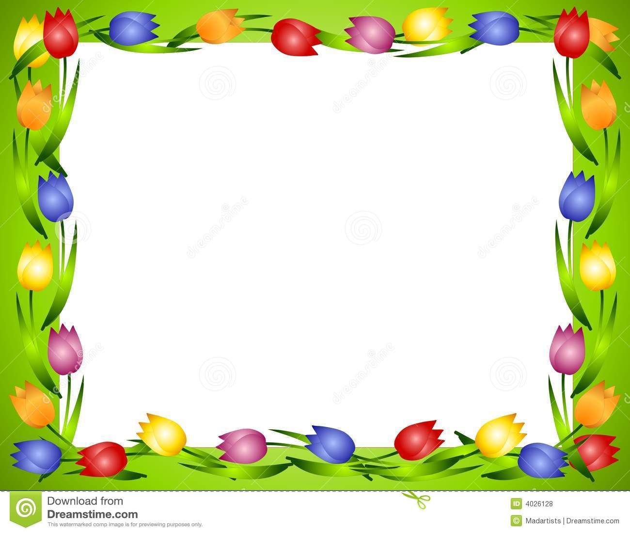 Spring Tulips Flower Frame Or Border 2 Royalty Free Stock ...
