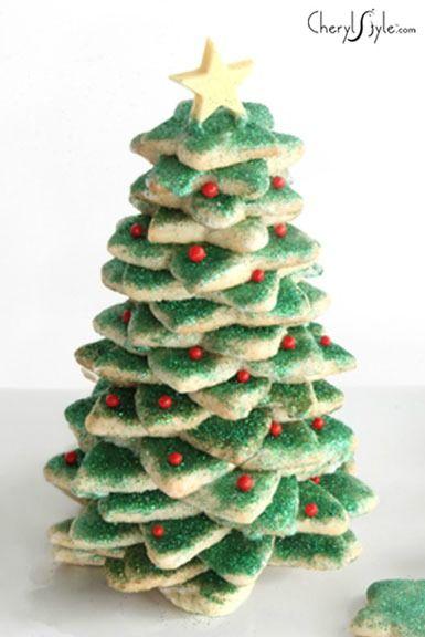 Stacked Sugar Cookie Christmas Tree Christmas Cookies Christmas
