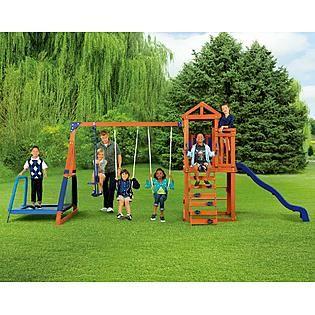 Wooden Swing Set Swing Set Backyard Trampoline Wooden Swing Set