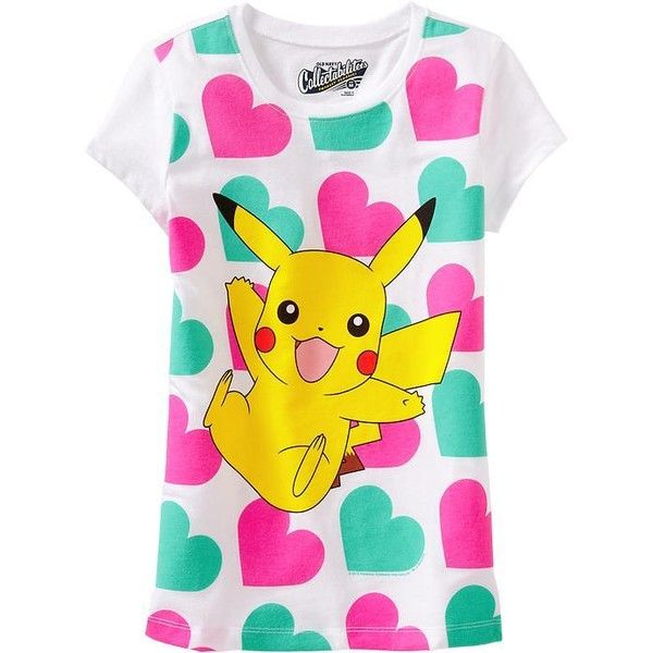 96d31eff Old Navy Girls Pokémon Pikachu Tees - Bright white ($10) ❤ liked on  Polyvore featuring pokemon, tops, shirts and tees