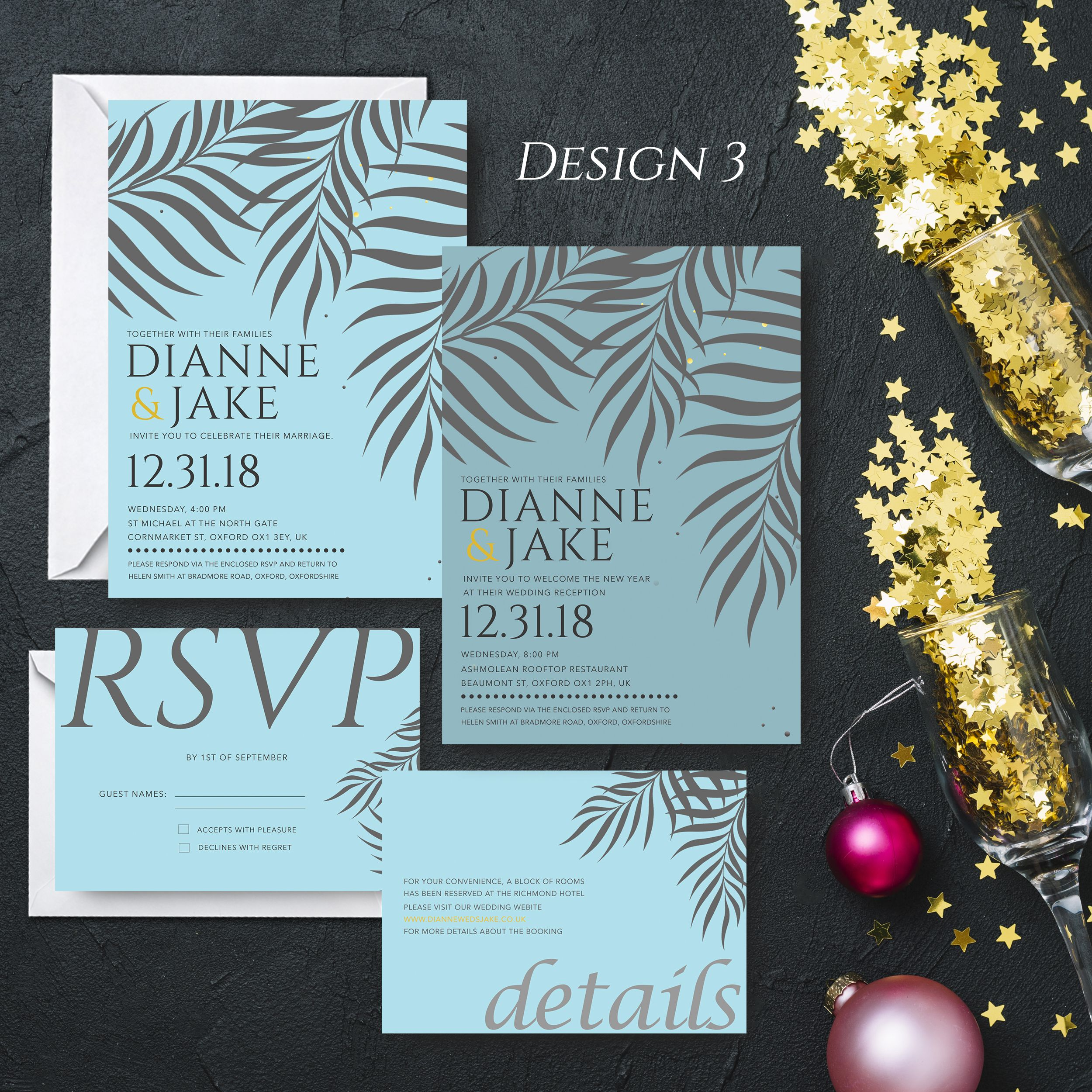 Personalised New Year Wedding Invitation Set Day Evening