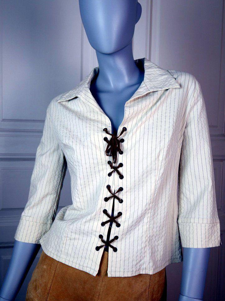 Vintage Zip Up Top with Wide Collar