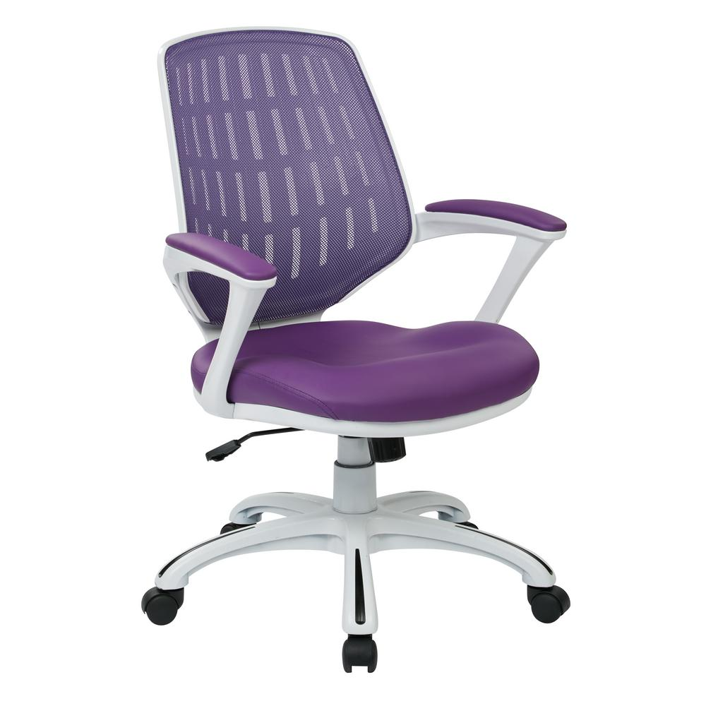 Osp Home Furnishings Calvin White Frame Office Chair With Purple Mesh Fabric And Arms Clva26 W512 The Home Depot Mesh Office Chair Office Chair Traditional Office Chairs