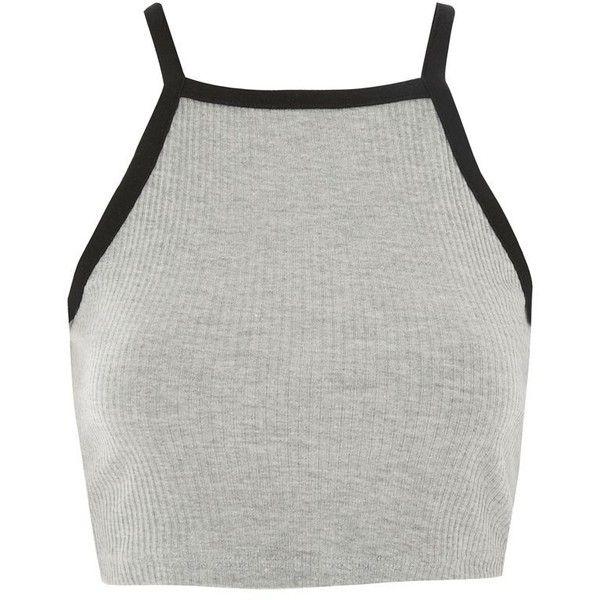 Women Ladies Retro Stretch Vest Strappy Tank Top Crop Cami Contrast Halter Neck