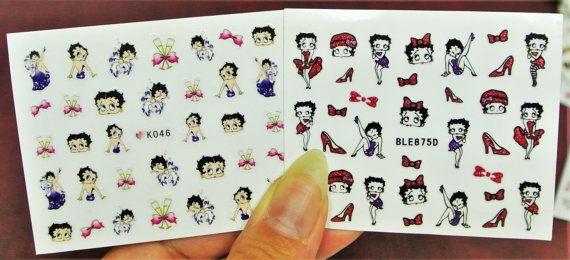 2 sheets Betty Boop Nail Sticker, 50s cartoons Nail art, Nail Decal, Nail Design, Betty Boop, Red Sticker,