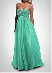 Gorgeous Silk-like Chiffon Ball Gown Spaghetti Straps Beaded Floor Length Party Dress