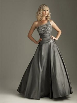 Terani\'s Couture one shoulder Charcoal grey ball gown prom dress ...