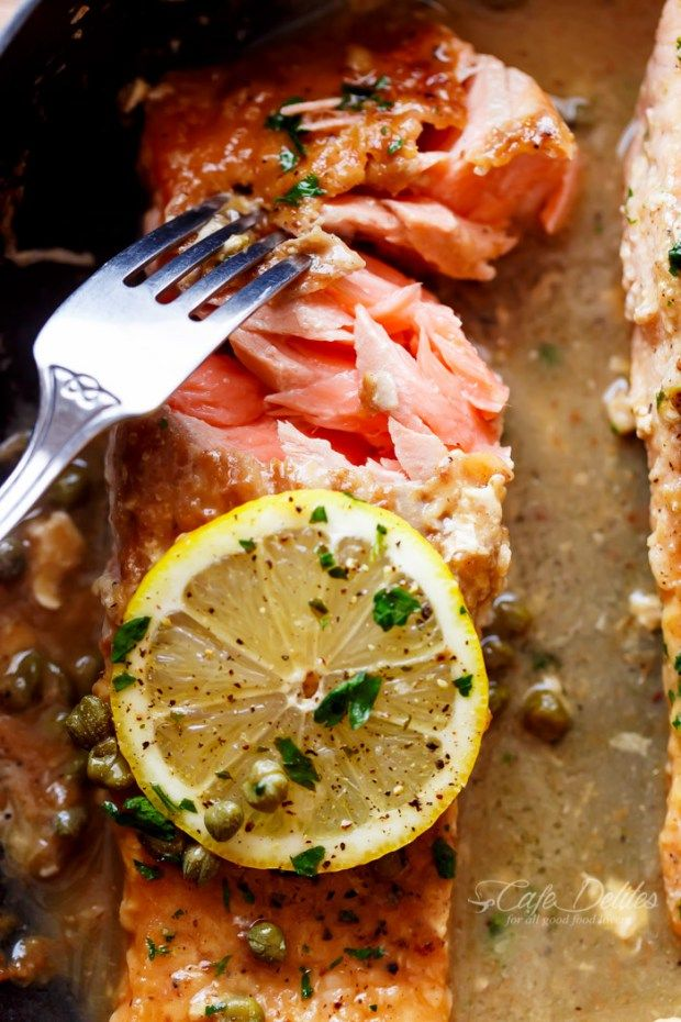 Easy Salmon Piccata | http://cafedelites.com