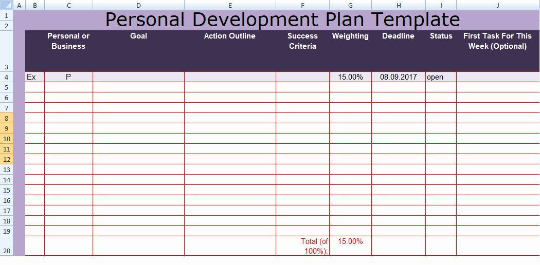 Individual Developent Plan Template Lovely Get Personal