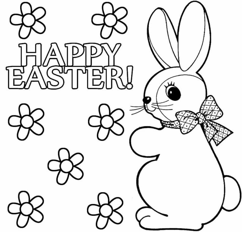 Printable Easter Bunny Coloring Pages in 2020 Easter