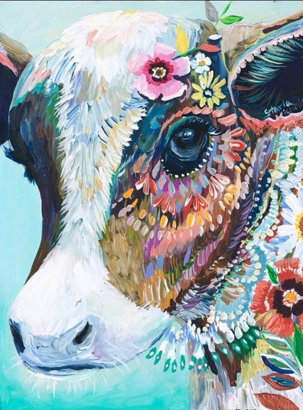Cow art Cow painting, Cow paintings on canvas, Cow art