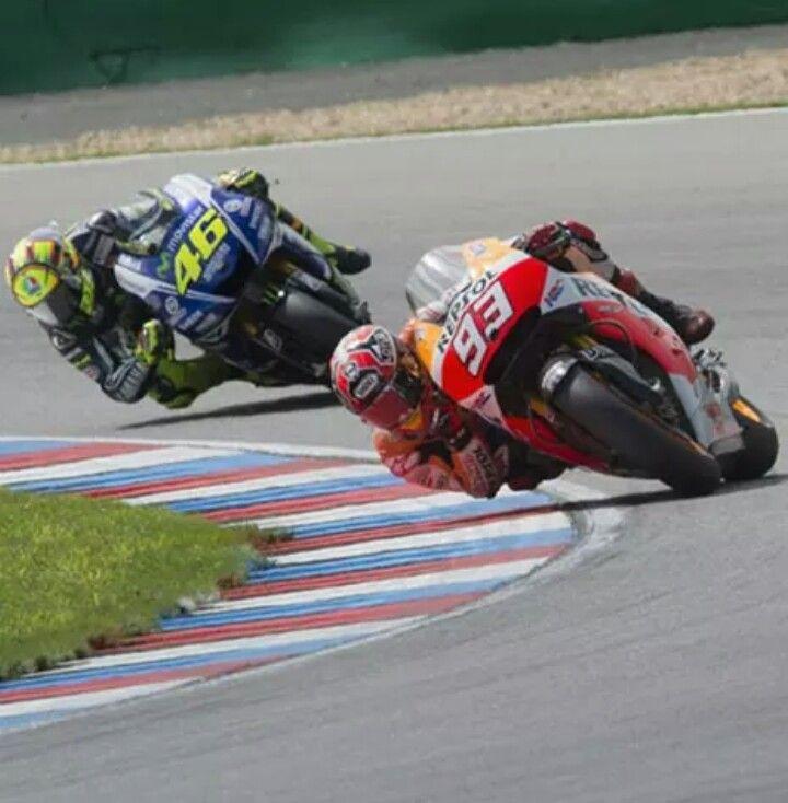 Valentino Rossi chasing Marc Marquez