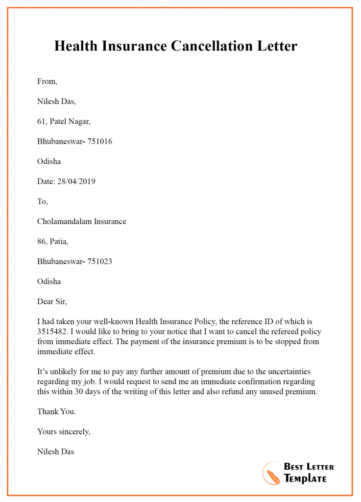 Insurance Cancellation Letter Template Format Sample Example