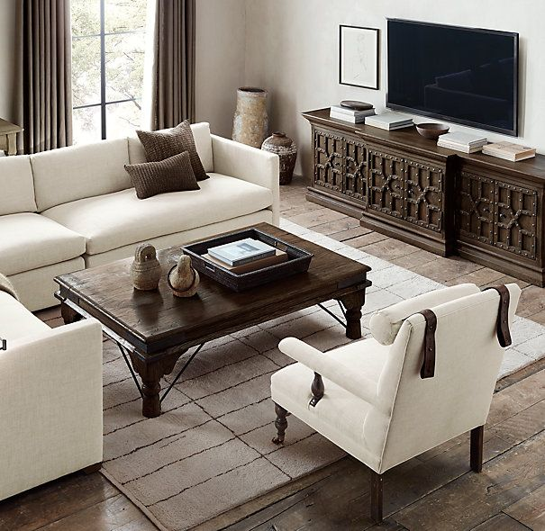 Room  Media console from Restoration Hardware 2700 17th C Castello