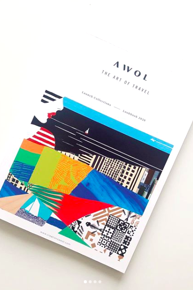 Awol makes art, design, fashion accessories and home decor inspired by the artist's travel around the world. This colorful lookbook design is a colorful travel collage made of the various patterns, textile designs and illustrations in the travel collections.   #travelart #travelprint #travelcollage #traveldesign #collage #illustration #colorful #bright #design #accessories #lookbook #cover #designer #interiordesign #decor #eclectic #pattern #patterndesign #textile #graphic #happy #landscape #art