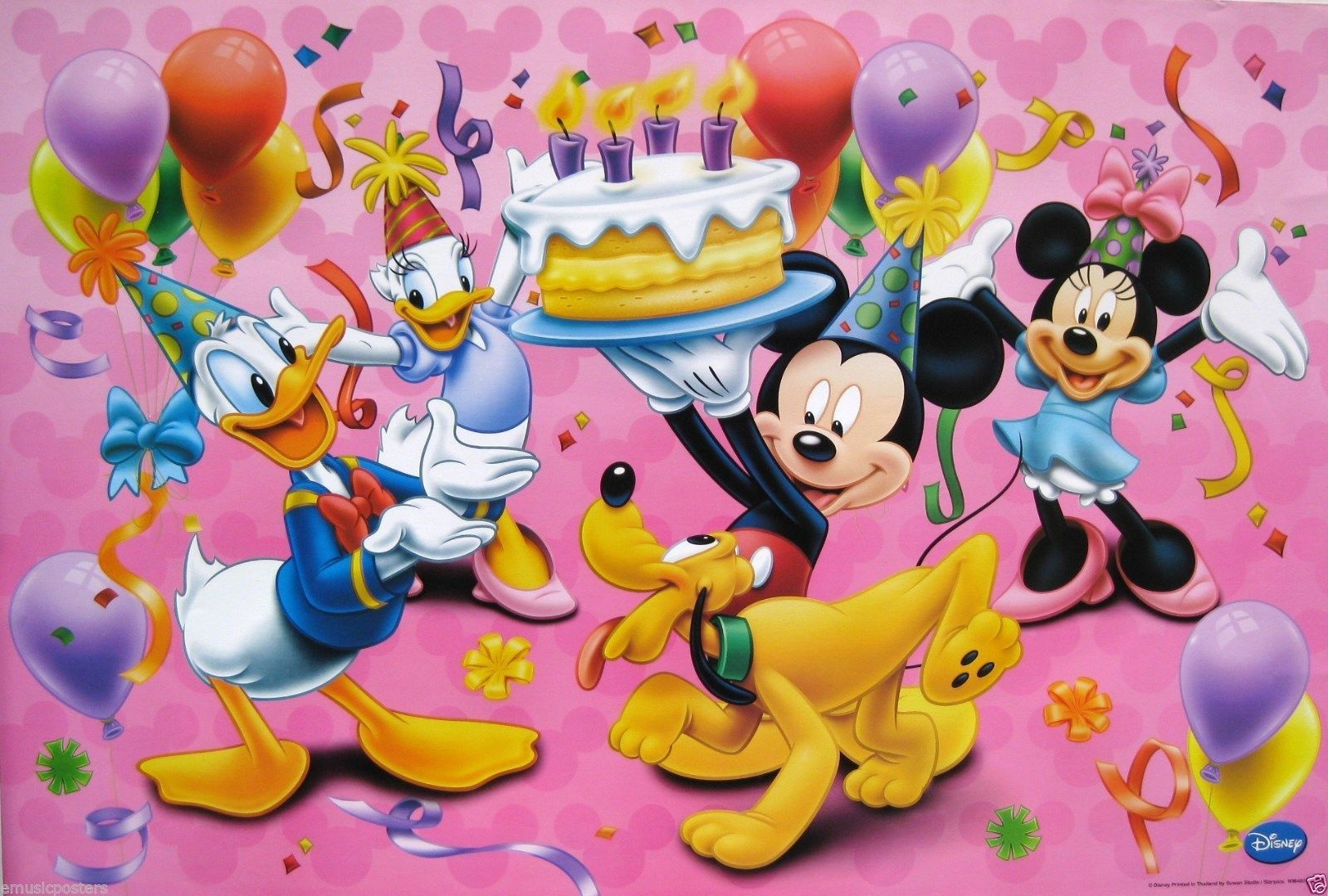 "Details about DISNEY ""MICKEY MOUSE HOLDING BIRTHDAY CAKE"