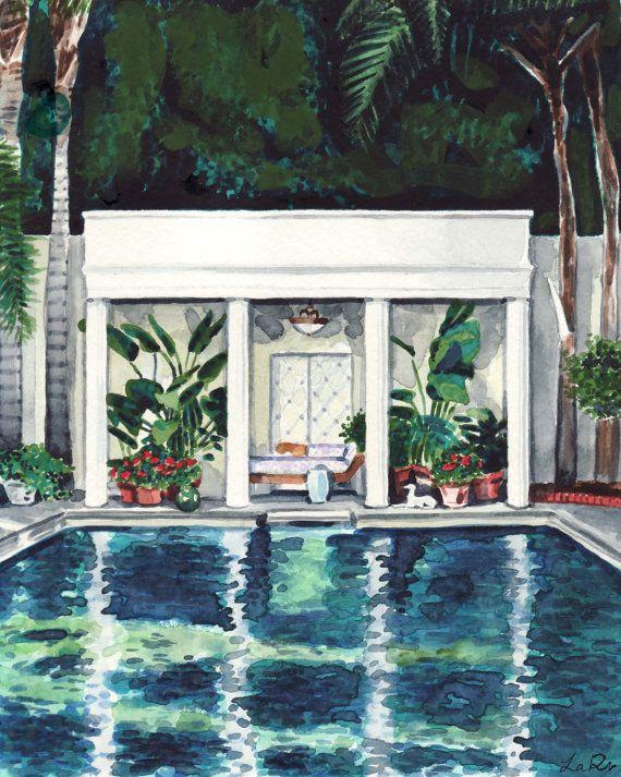 Piscine Maison Art California Impression Jet D Encre De Peinture A