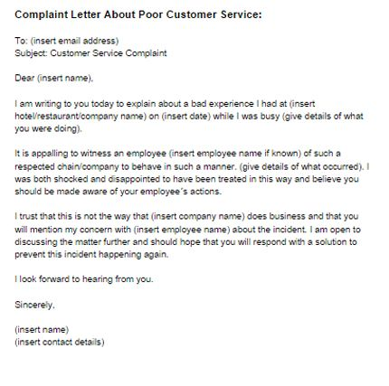 Complaint Letter Poor Customer Service Sample Just Templates