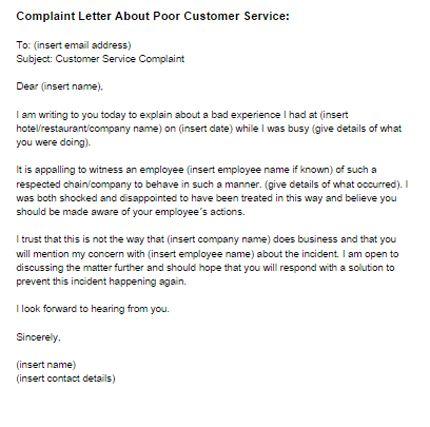 Complaint Letter Poor Customer Service Sample Bad Customer