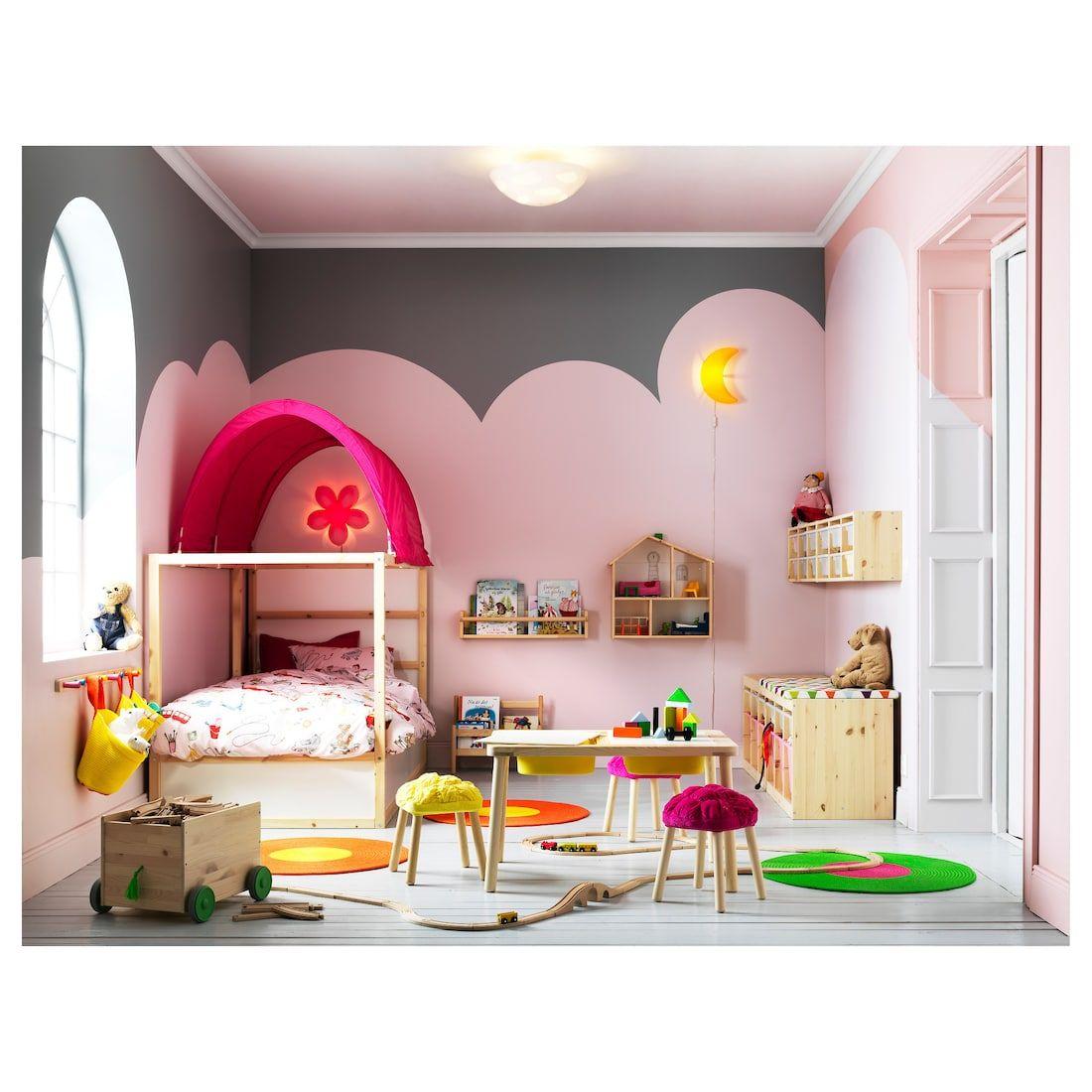 KURA Reversible bed, white, pine, Twin IKEA Girl room