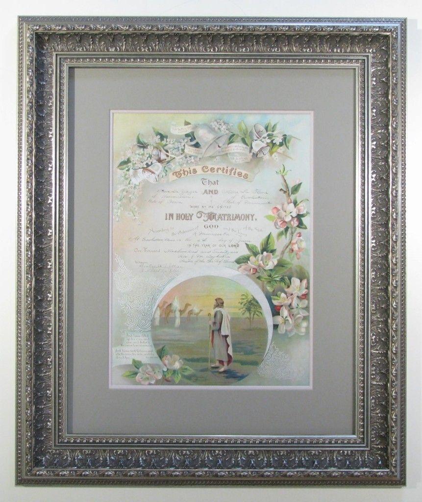 Antique Marriage Certificate Framed In Antique Silver Beautiful