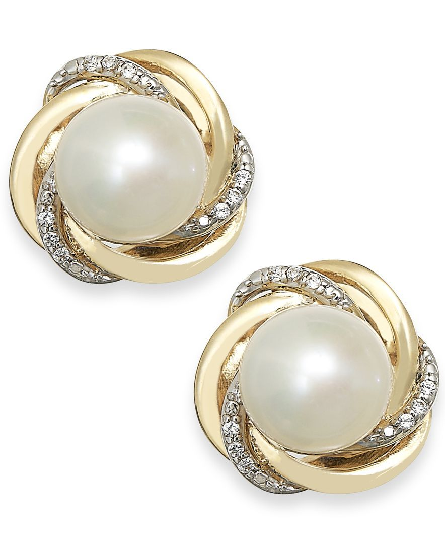 86a387e6a6 Cultured Freshwater Pearl (7mm) and Diamond Accent Knot Stud Earrings in  14k Gold