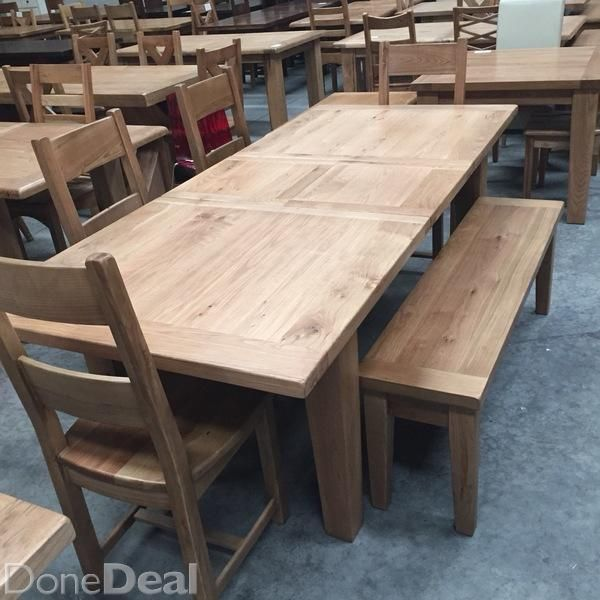 Vancouver Oak 18 Extension Table 4 Chairs And 1 Bench Ex Display
