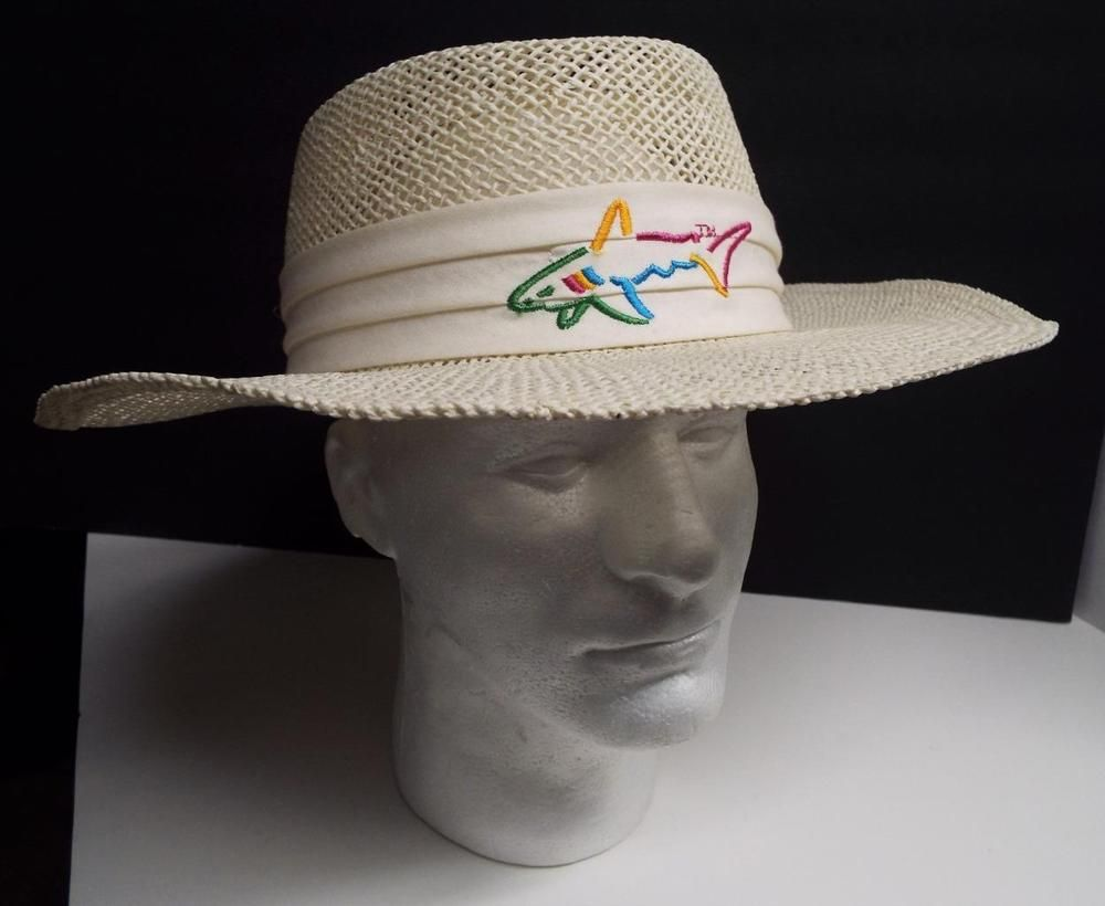 Greg Norman Panama Style Hat Shark Logo One Size Fits All Cream Shaded Vented Shark Logo Hat Fashion One Size Fits All