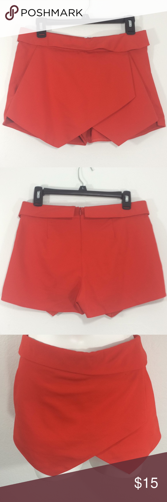 Zara basic lined front flap red dress shortss in my posh