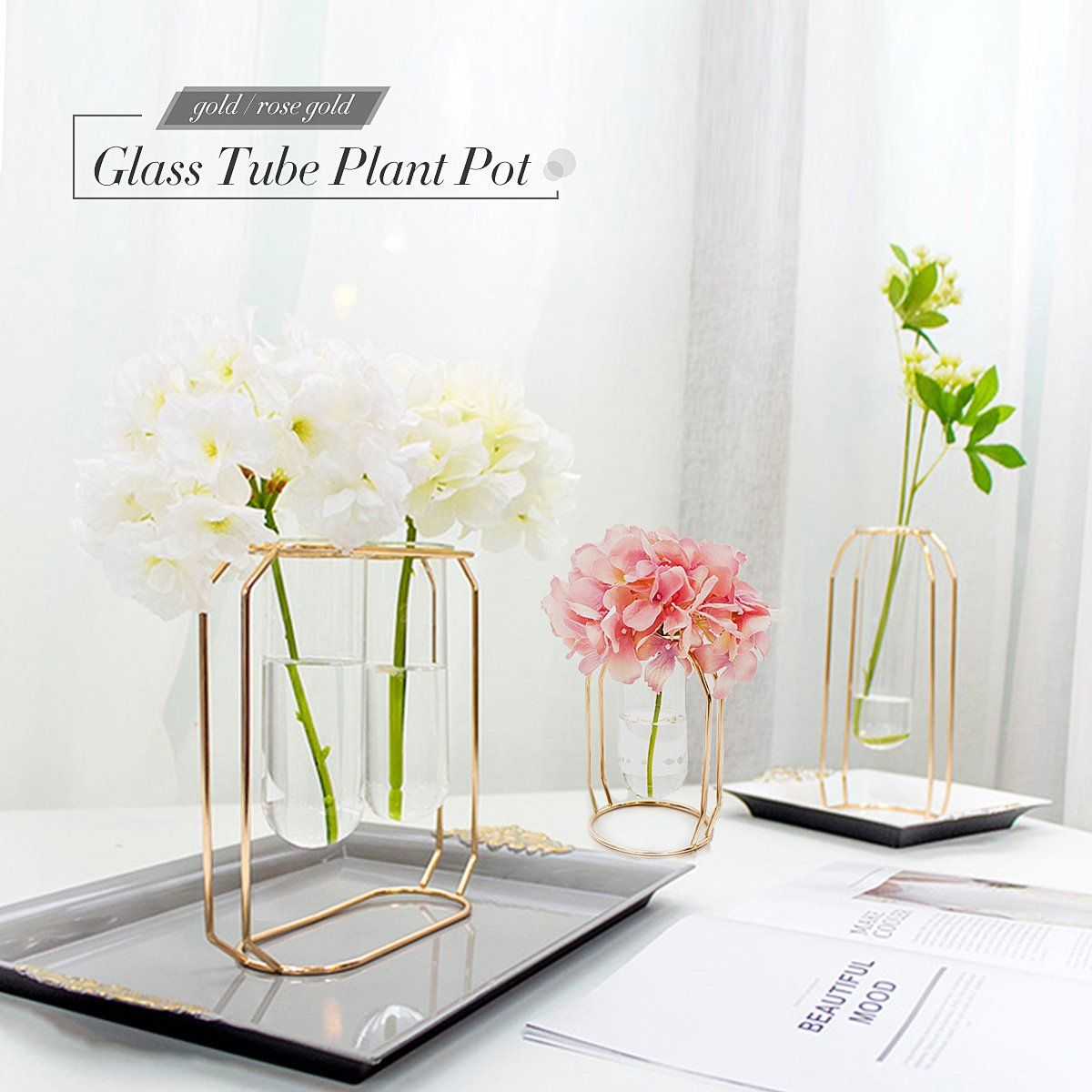 Hanging glass ball tube vase flower plant pot terrarium