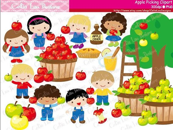 Apple picking clipart Fall clipart Harvest by CeliaLauDesigns