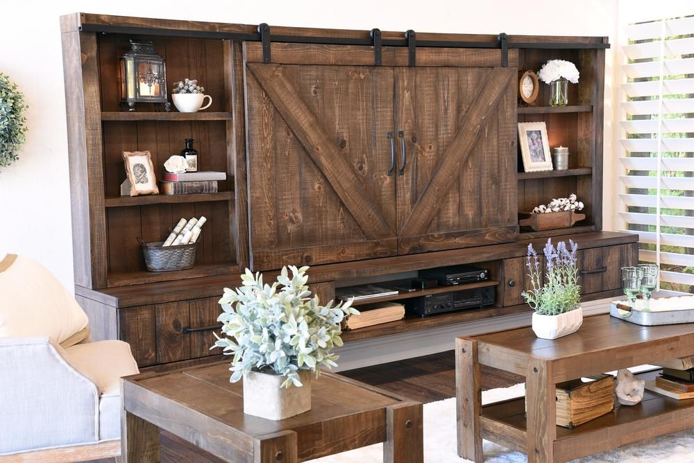 Farmhouse Barn Door Entertainment Center Floating TV Stand