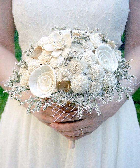 Rustic Vintage Wedding Bouquet Dried Flowers Ivory Cream