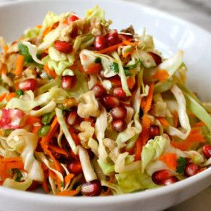 Pomegranate Salad with Walnuts and Cabbage.  Download my favorite free Summer recipes here! http://www.ryanclarkfitness.com/free-healthy-summer-recipes