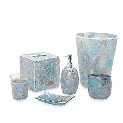 Image Of Aurora Pastel Cracked Glass Bath Accessory Ensemble