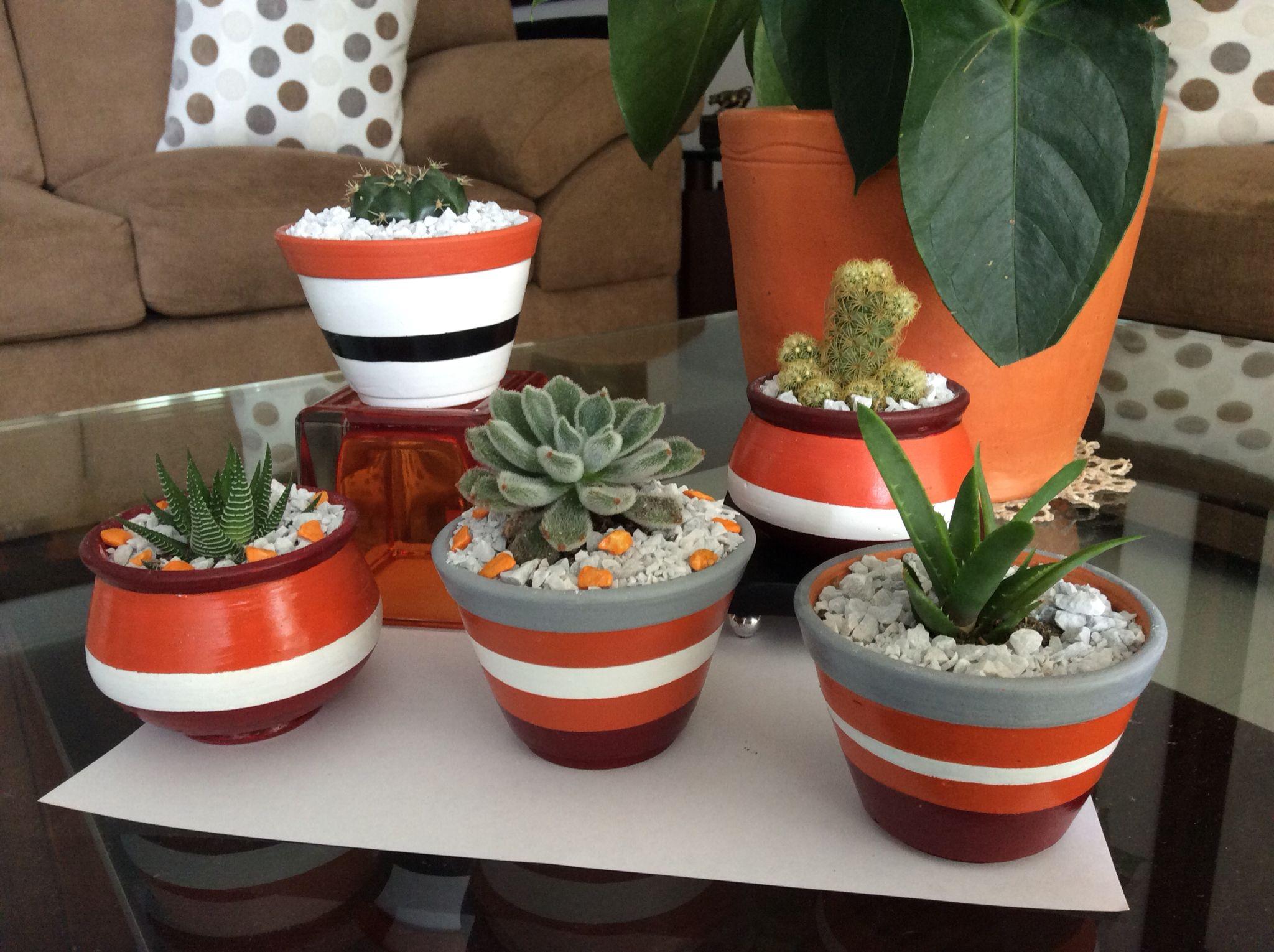 Painted pots Handmade