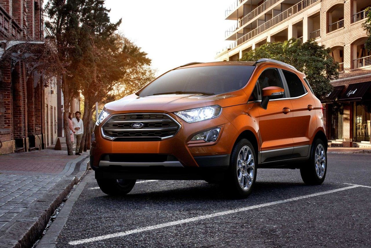2018 Ford Ecosport Titanium In Canyon Ridge Parked At An Urban