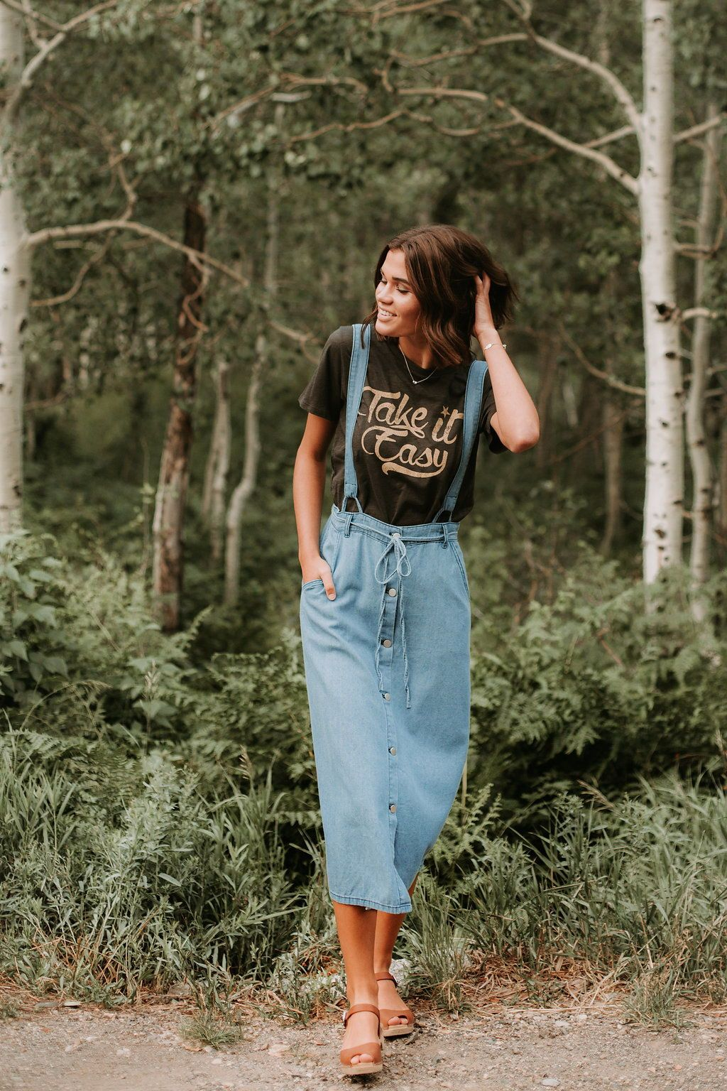 The carlock denim overall dress capsule pieces pinterest
