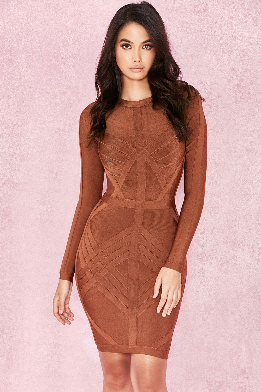 c62306704b163 Clothing : Bandage Dresses : 'Calliope' Rust Weave Detail Bandage Dress