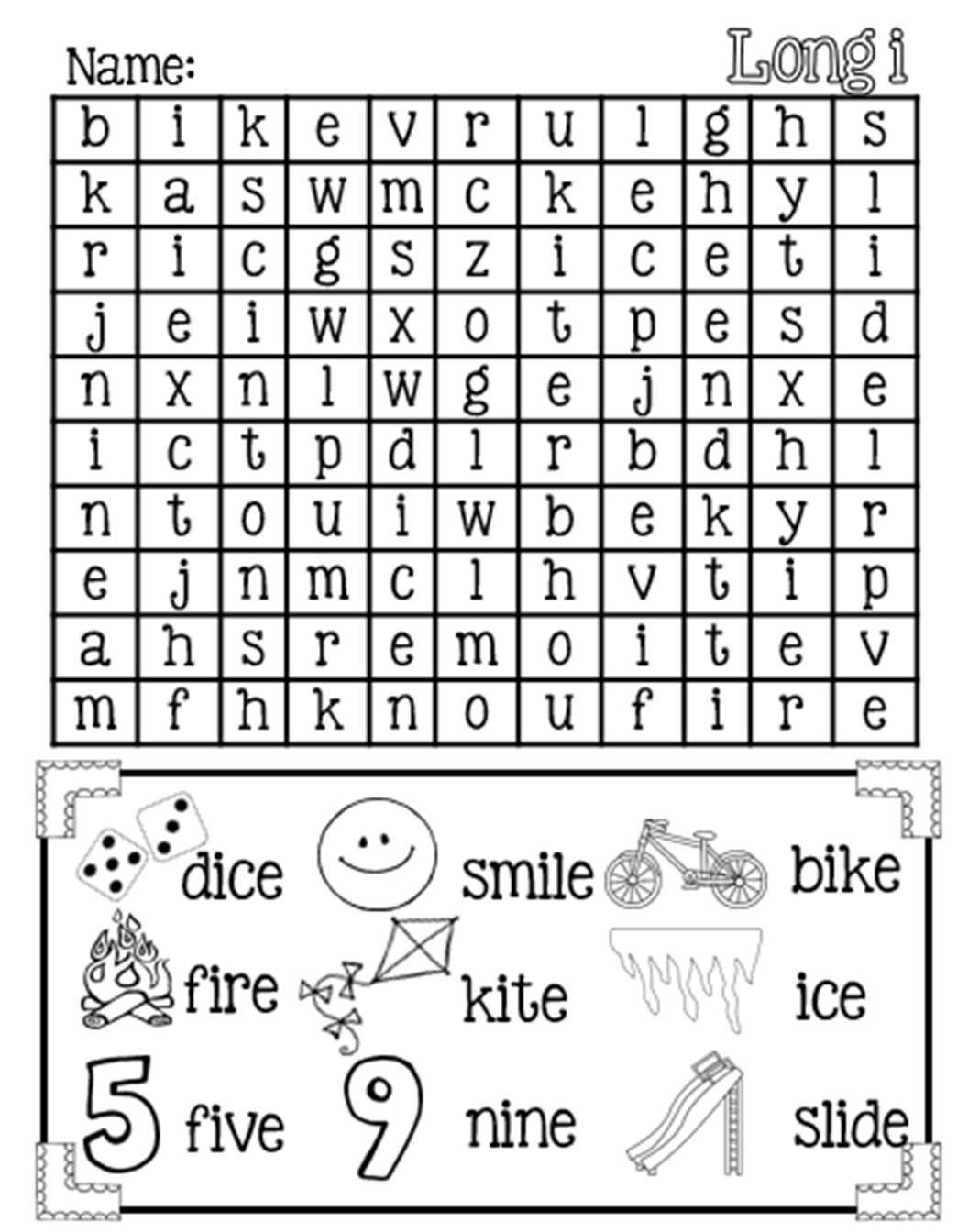 magic e long i word search free phonics and literacy centers pinterest word search. Black Bedroom Furniture Sets. Home Design Ideas
