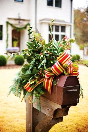 2015 Christmas mailbox cover decor, Christmas plaid bow garland mail