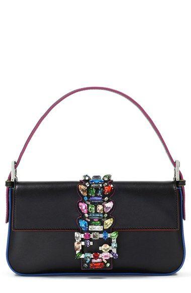 53213627005 Fendi Crystal Embellished Leather Baguette available at  Nordstrom ...