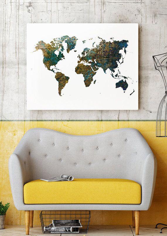Welt Karte Poster  Kunstdruck  Kontinente anzeigen von Printlandia