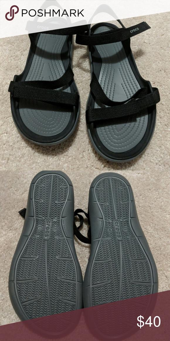 Nwot Crocs Nwot Black Croc Sandals With Velcro Straps Crocs Shoes Sandals Clothes Design Women Shoes Fashion Trends