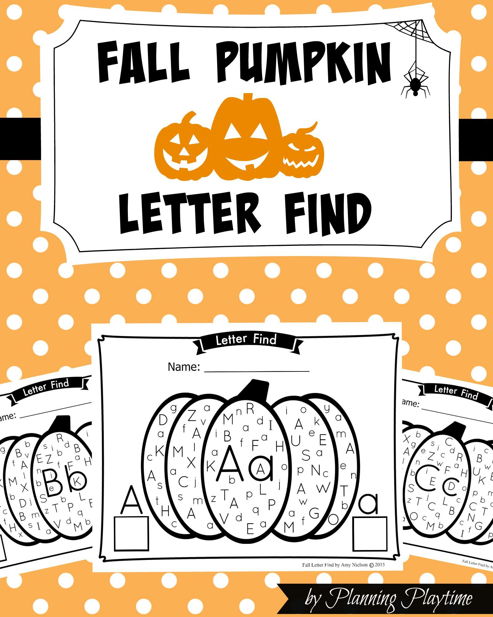 Fall Pumpkin Alphabet Letter Find