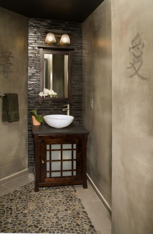 Bath Ideas · Great Way To Work With The Awkward Corner. The Chinese (?)  Characters On