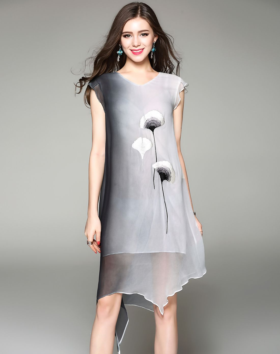 #VIPme Gray Silk Embroidery Cap Sleeve Asymmetrical Dress ❤️ Get more outfit ideas and style inspiration from fashion designers at VIPme.com.