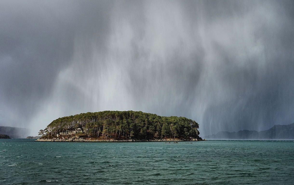 Hailstorm over the Loch Torridon Island