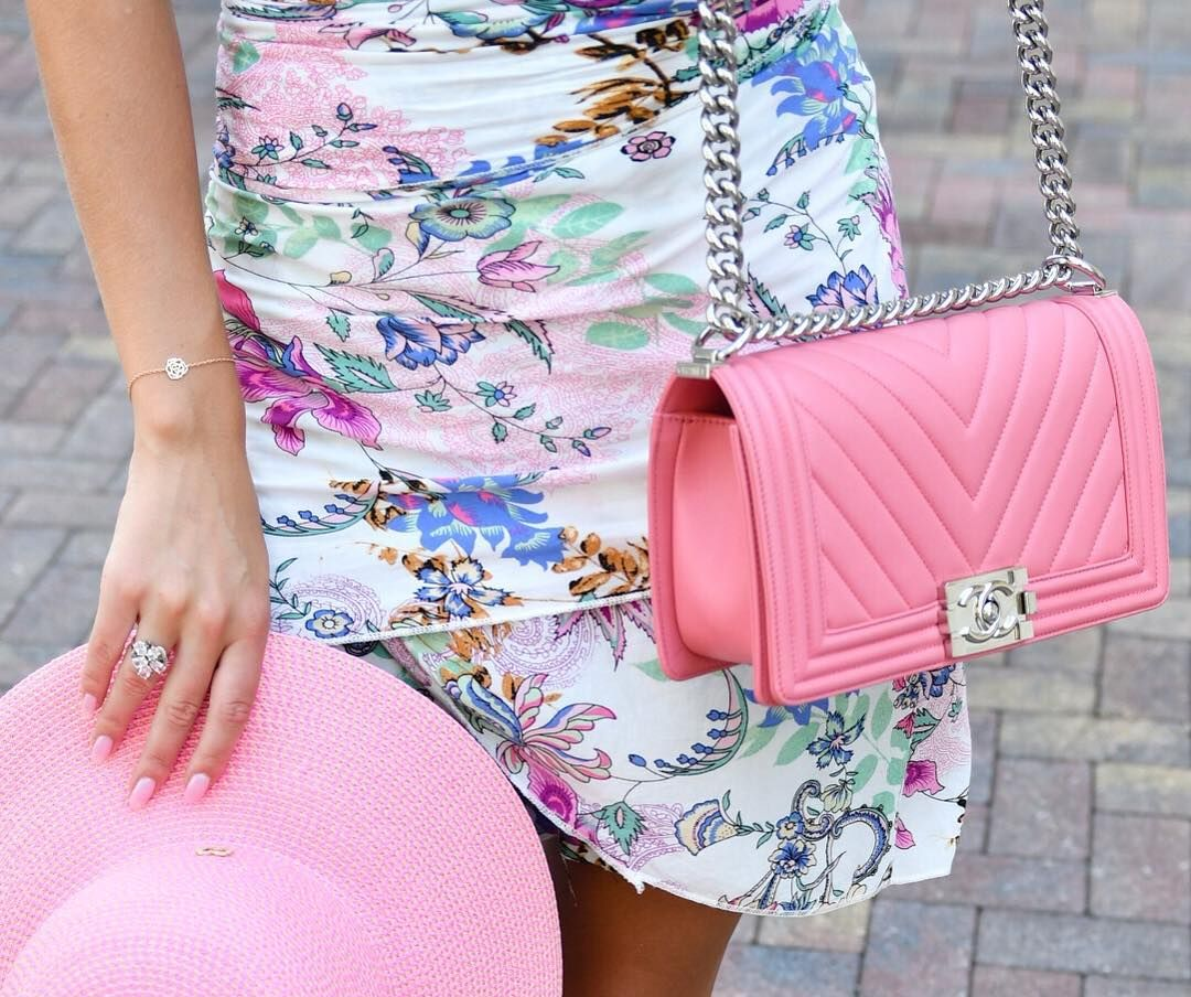 0d0560f3e64488 pink chanel boy bag in pink chevron calf skin and floral dress ...